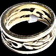 Mid Century Modern 14k Gold Cut Out Scroll Leaf Motif Wide Band Ring sz4.75