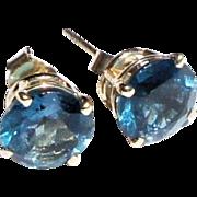 Vintage Estate 14k Gold Pair London Blue Solitaire Gemstone Post Earrings 1.75ct each