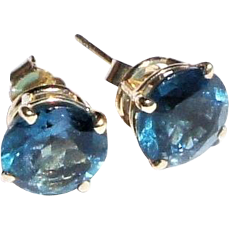 Vintage Estate 14k Gold Pair London Blue Solitaire Gemstone Post Earrings 1.75ct each