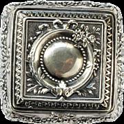Art Nouveau Italian 800 Coin Silver Rococo Snuff Bon Bon Floral Repousse Box