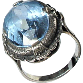 Arts & Crafts 830 Silver Large Synthetic Corundum Sapphire Cocktail Ring c1910-1930