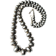 Vtg Italian Sterling Silver 24 inch 8-24mm Graduated Hollow Large Bead Necklace