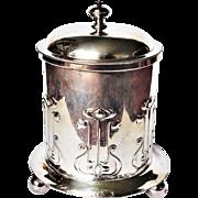Art Nouveau British Silver Plate Biscuit Barrel Tobacco or Tea Cannister Roberts & Belk Sheffield c1890
