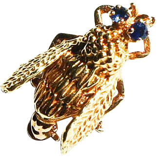 Vintage 10k Yellow Gold Sapphire Fly Insect Bee Brooch Pin Figural