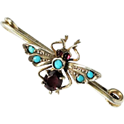 Art Nouveau Sterling Silver Gold Vermeil Amethyst Turquoise Fly Bar Brooch c1910