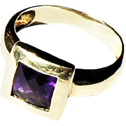 Estate 14k Yellow Gold 1.25ct Square Amethyst Solitaire Cocktail Ring