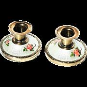Norway Hroar Prydz Gold Vermeil Guilloche Enamel Pair Miniature Pink Rose-bud Candlesticks