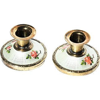 Norway Hroar Prydz Gold Vermeil Guilloche Enamel Pair Miniature Pink Rose-bud Candlesticks