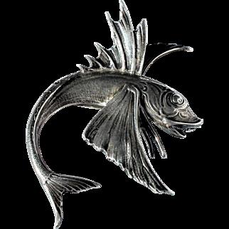 Vintage Signed Designer Cini Sterling Silver Flying Fish Brooch