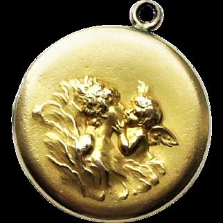 Art Nouveau Large Yellow Gold Fill Love's Dream Locket Pendant