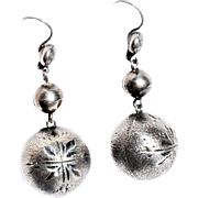 Victorian Sterling Silver Oversize Matte Bright Cut Spherical Ball Drop Pendant Earrings c1870