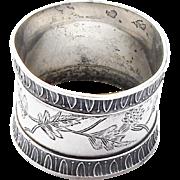 Victorian 19thc Aesthetic Sterling Silver Napkin Ring Oak Leaf Egg & Dart