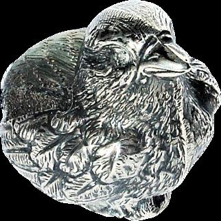 Antique Sampson Mordan & Co Sterling Silver Figural Bird Pin Cushion Sheffield 1905