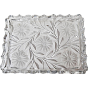 Gorgeous early Floral Cut Crystal Vanity or Cheese Tray