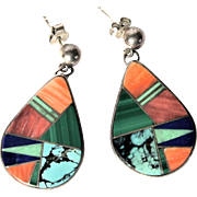 Vintage Navajo Signed Calvin Begay Multi Stone Inlay Sterling Silver Pendant Drop Pierced Earrings
