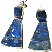 Vintage Sterling Silver Articulated Lapis Lazuli Inlay Pierced Post Drop Pendant Earrings