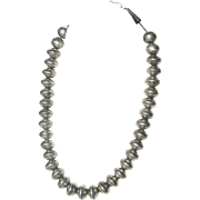 Art Deco Navajo US Silver Mercury Dime Navajo Pearl Bead Necklace c1920-40