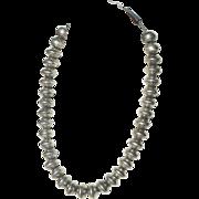 Art Deco Navajo US Silver Mercury Dime Navajo Pearl Bead Necklace c1920-40