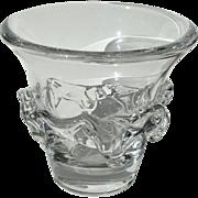 Mid Century Modern Signed Daum France Clear Crystal Freeform Vase c1960