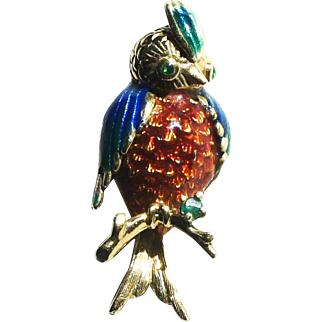 Vintage 14k Yellow Gold Enamel Emerald Parrot Bird Brooch Pin Figural c1960