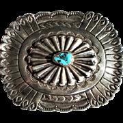 Vintage Old Pawn Navajo un Signed Silver Turquoise Sunburst Motif Belt Buckle
