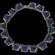 Art Deco Czechoslovakian Silver Tone Fancy Cut Cobalt Lapis Art Glass Collar Necklace Max Neiger?