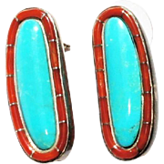 Gorgeous estate Sterling Silver Blue Turquoise Cabochon Mediterranean Coral Inlay Earrings