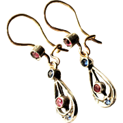 Edwardian 10-14 Karat Yellow and White Gold Corn Flower Blue Sapphire and Ruby Pendant Drop Earrings