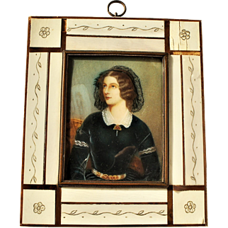 Early Hand Painted Miniature Portrait Signed J Stieler in Original Frame