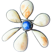Art Deco Sterling Silver Lapis Lazuli Fossilized Antler Daisy Flower Coat Brooch c1940
