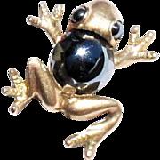 Vintage 10k Gold Frog Brooch faceted Hematite Body