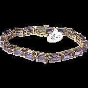 Estate 14k Gold Rectangular, Emerald Cut Amethyst Line Tennis Bracelet 25ct 14.7gr