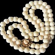 """Vintage c1950 Estate White or Angel Skin 10mm Coral Bead 14k Gold Necklace 34"""""""