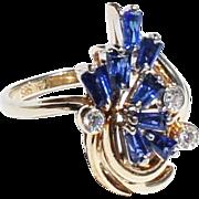 Vintage Estate 14k Gold Baguette Sapphire Diamond Cluster Cocktail  Ring sz 5 3/4