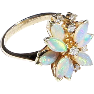 Vintage Estate 14k Gold Diamond Flower Form Opal Cocktail Ring sz 5 1/2