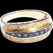 Vintage Estate 14k Gold Channel Set Sapphire Diamond Band Ring sz 6