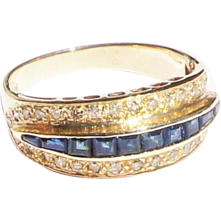Vintage Estate 14k Gold Channel Set Sapphire Diamond Band Ring sz 6