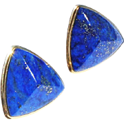 Estate 14k Yellow Gold Pyramid Form 42ct Lapis Lazuli Large Post Earrings with $2000 appraisal