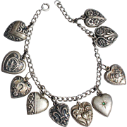 Victorian c1900 Sterling Silver Puffy Heart Charm Bracelet 10 Charms
