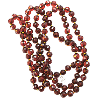 HOLD Art Deco Faceted Cherry Amber Bakelite 10mm Hand Knotted Bead Necklace 51""