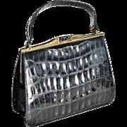 True Vintage Mid Century 1950 - 60s Bellestone Patent Black Leather Alligator Large Handbag Purse