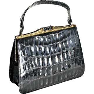True Vintage Mid Century 1950 - 60s Bellestone Patent Black Leather Alligator Large Handbag Purse