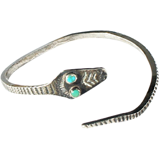 Early Navajo Silver Snake Armlet Cuff Bangle Bracelet Turquoise Eyes un signed