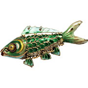 Vintage Chinese Silver Gilt Shaded Enamel Articulated Fish Charm Pendant
