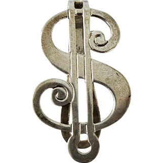 Art Deco Sterling Silver WS Blackinton Co Dollar Shape Money Clip 1938-60
