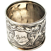Art Nouveau Sterling Silver Floral Scroll Napkin Ring 'Ida' Saart Brothers c1905