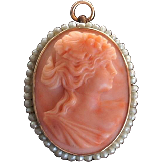 Edwardian Salmon Red Coral 10k Yellow Gold Seed Pearl Cameo Brooch Pendant c1910