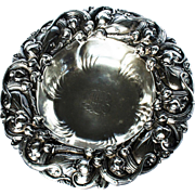 Antique Victorian Whiting Sterling Silver Repousse Bowl Wine Bottle Coaster c1880