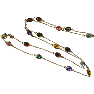 Estate 750 18k Yellow Gold Multi Gemstone by the Yard Necklace Chain 24""