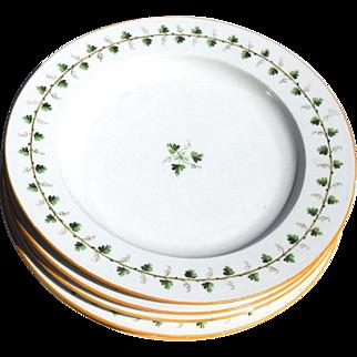 """Antique Rare Meissen 18thc Marcolini Period Set 6 Porcelain Grape Leaf Vine 10"""" Dinner Plates"""